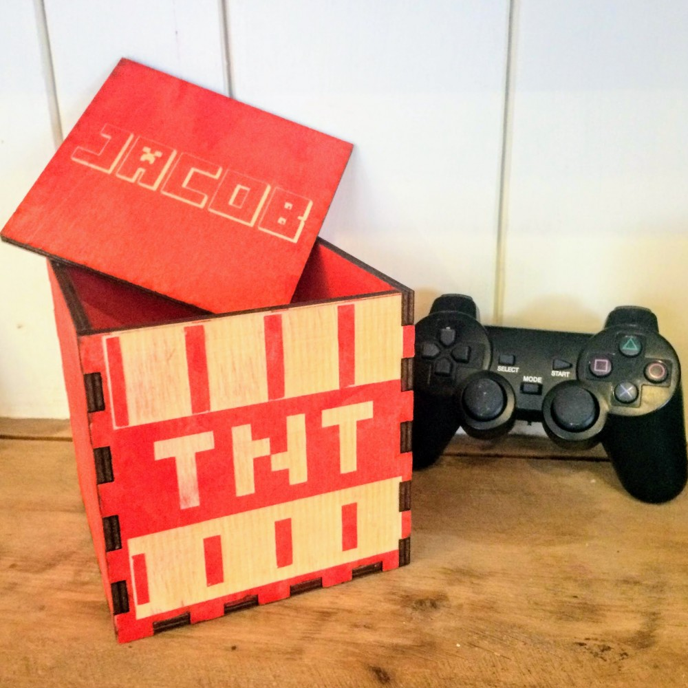 Personalised Wooden Minecraft Box