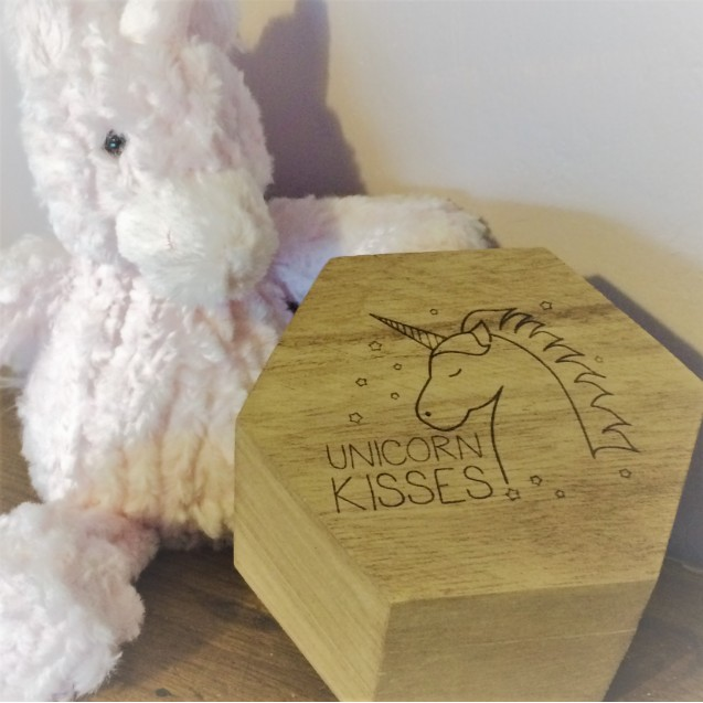 Wooden Unicorn Trinket Box