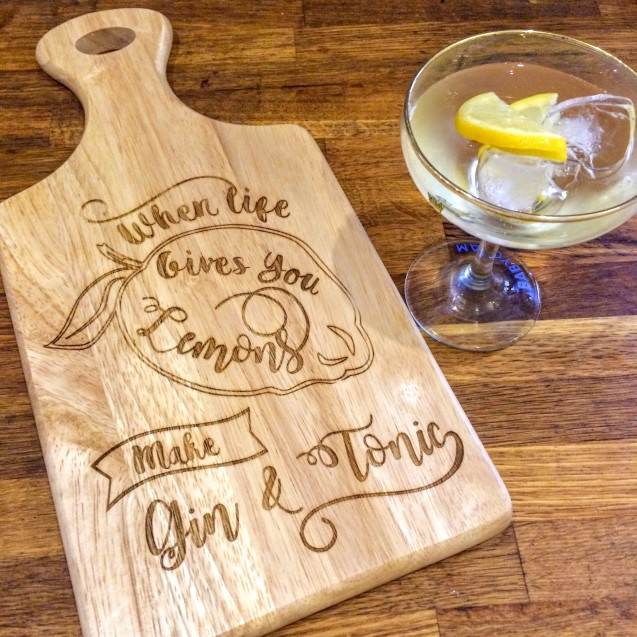 Gin & Tonic Wooden Chopping Board