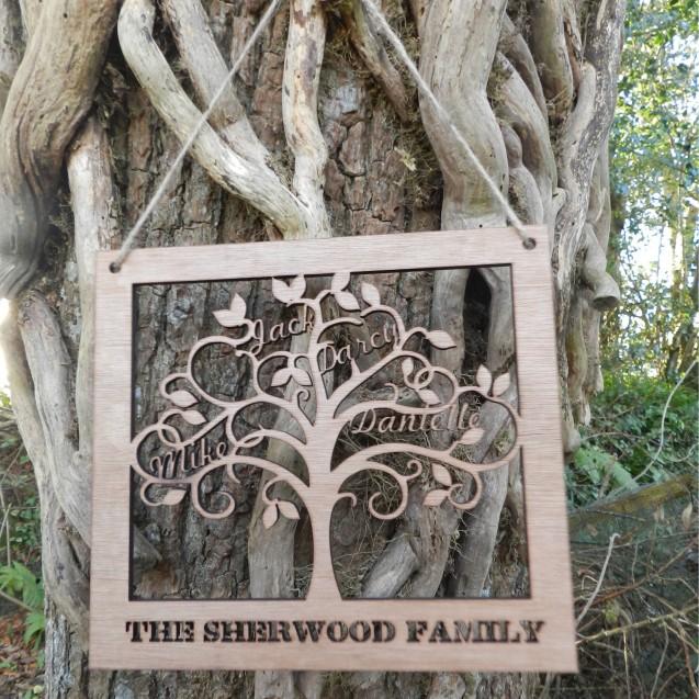 Small Wooden Family Tree Wall Art