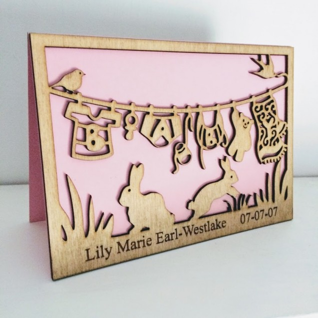 Personalised Wooden Baby Card