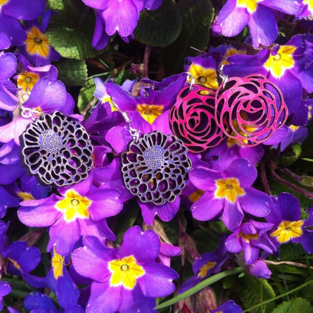 Wooden Flower Earrings
