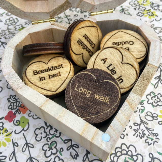 Wooden Love Tokens In a Box