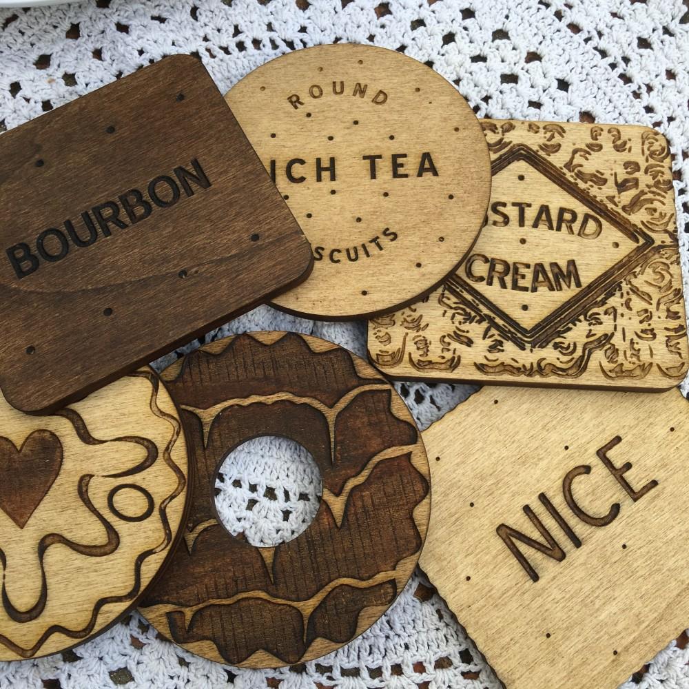 Wooden Biscuit Coasters
