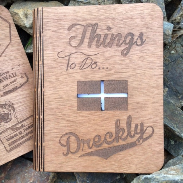 Dreckly Wooden Note Book