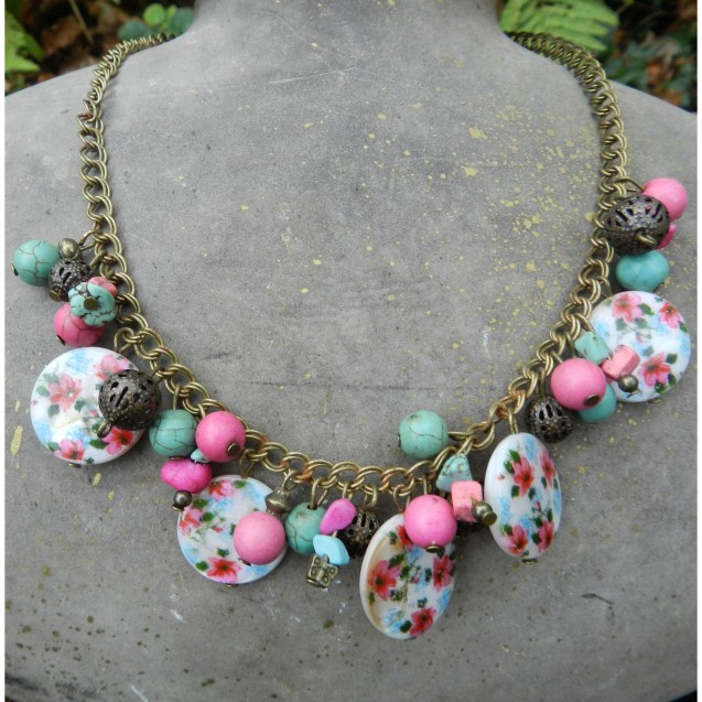 Pink and Turquoise Beaded Necklace