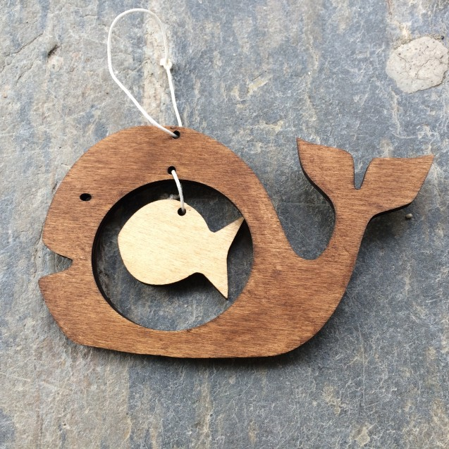Wooden Whale Decoration